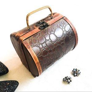 Amazing Vintage Leather & Wood Handbag